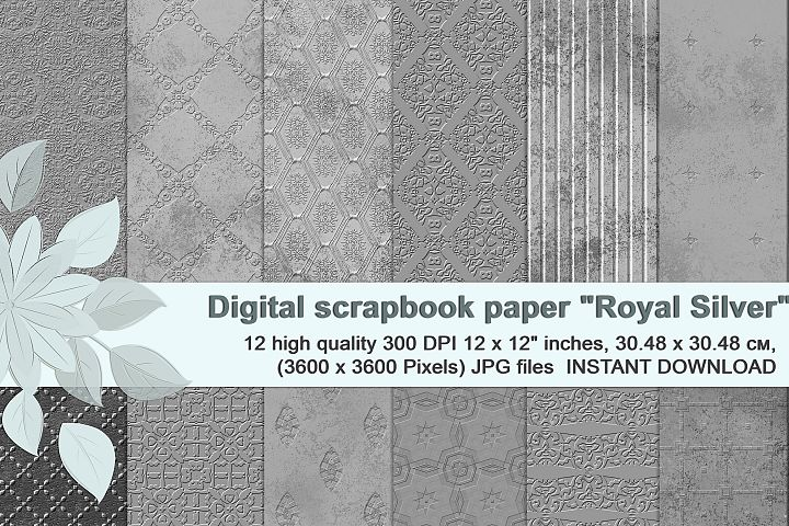 Royal Silver textures, digital Printable Scrapbook Paper