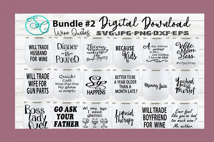 Wine SVG Funny Sayings Quotes Bundle 2