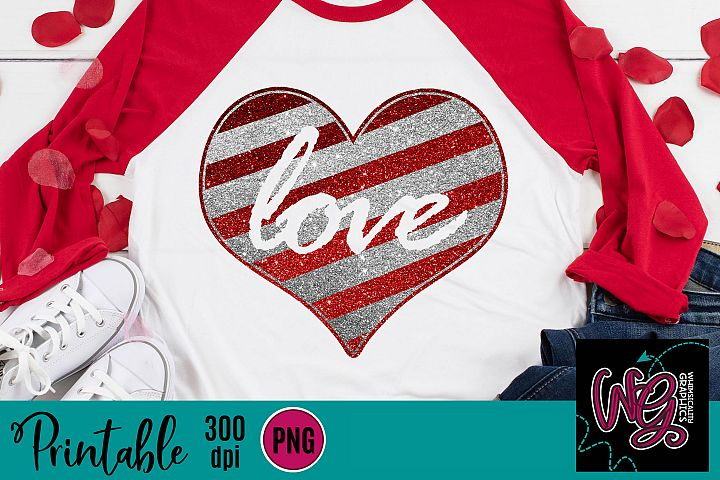 Love Glitter Heart Sublimation Printable