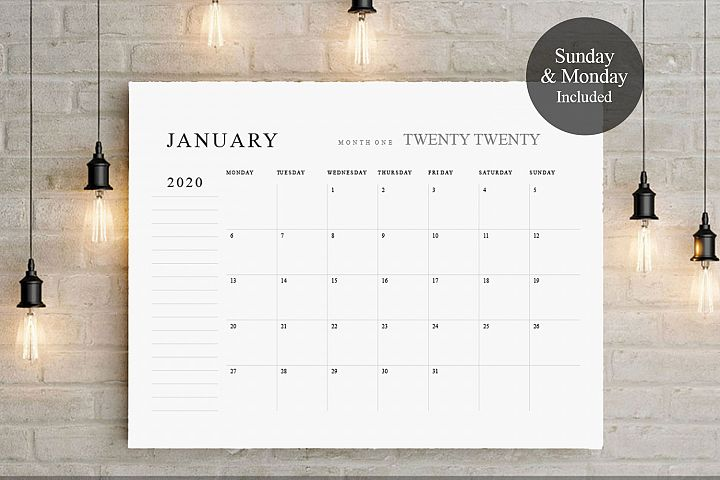 2019 - 2020 Big Calendar