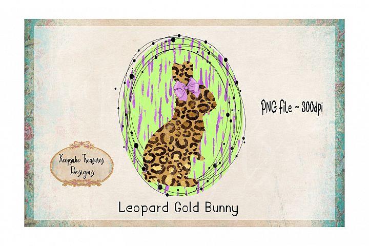Leopard Gold Bunny Hand Drawn Frame