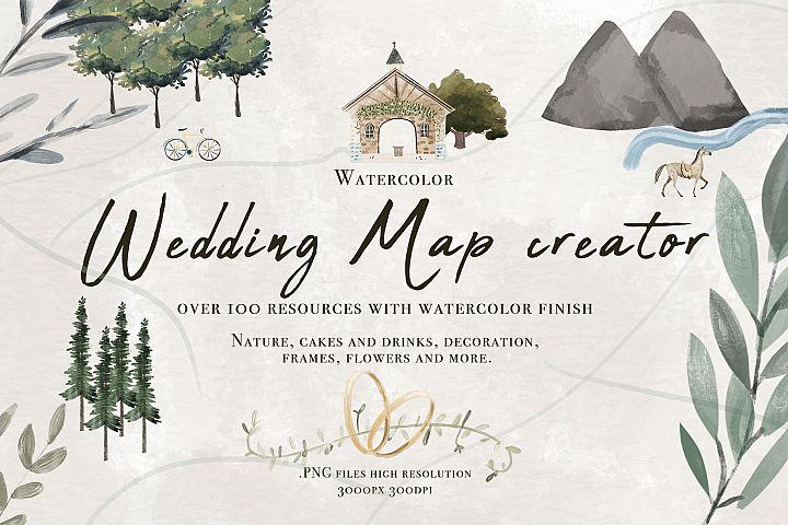 Wedding map creator watercolor