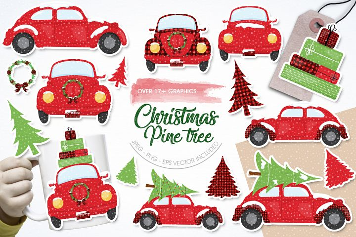 Christmas Pine Tree graphic and illustrations