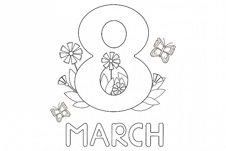 Womens day card. 8 of March. Coloring. Ai, eps, jpg, png, p