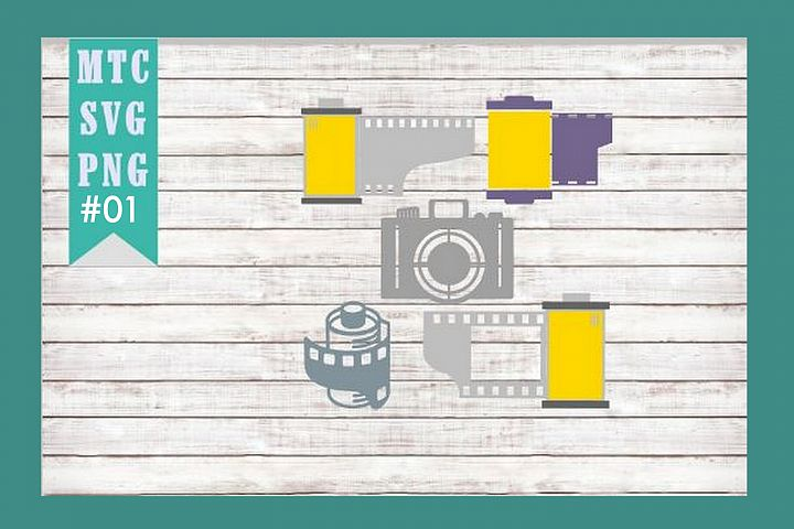 Camera & Film strips Canisters Set #01 SVG Cut File