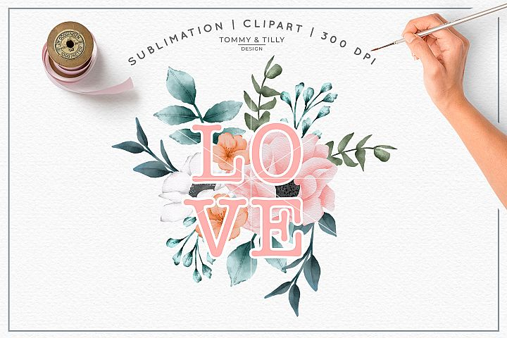 Love Bouquet Watercolour - Sublimation PNG Clipart