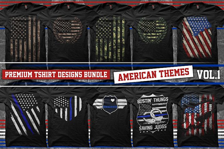 Bundle Premium T-Shirt Designs - American Themes - Volume 1