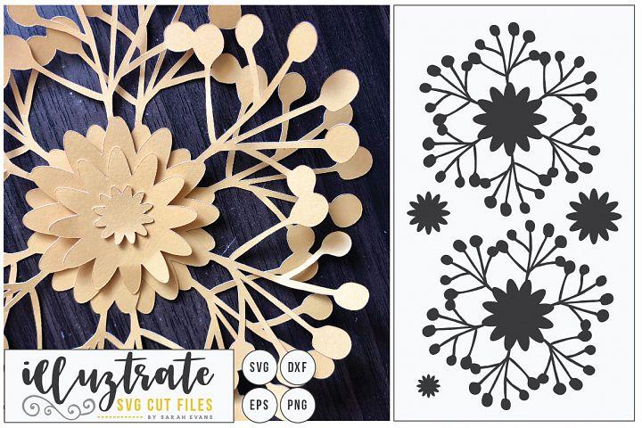 Paper Cut Flowers SVG Cut File - Paper Cutting Bundle DIY - Free Design of The Week Design7