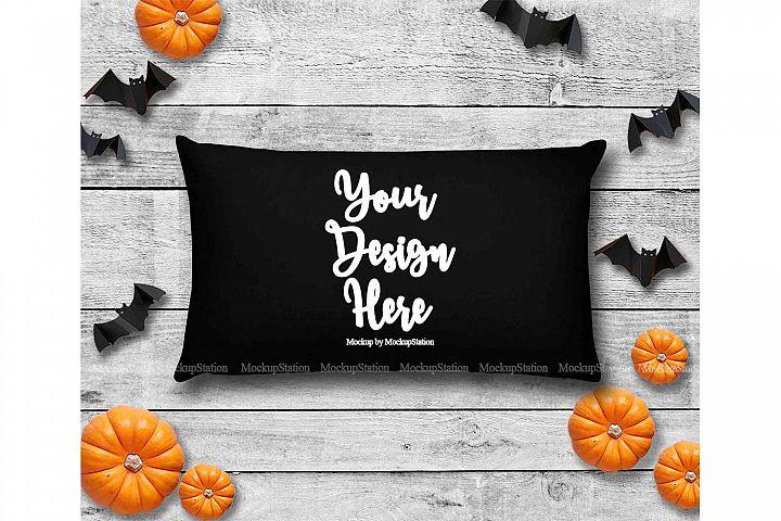 Halloween Black Throw Pillow Mockup, Rectangle Fall Cushion