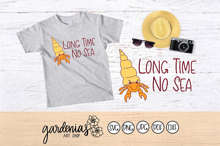 Hermit Crab SVG | Ocean Pun | Long Time No Sea | Punny Files