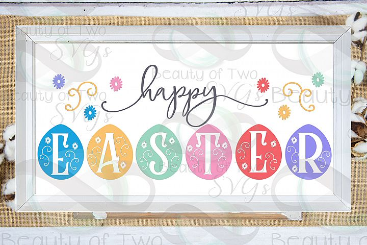 Happy Easter svg, Eggs svg, Farmhouse Easter svg, Easter svg