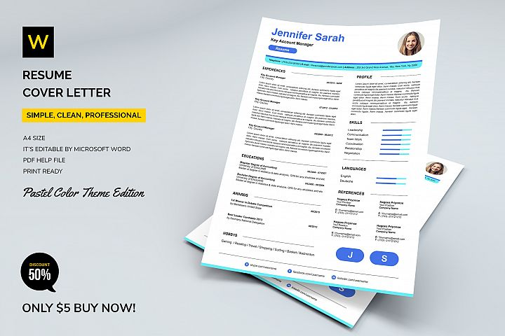 Resume / Cover Letter - Pastel Colors