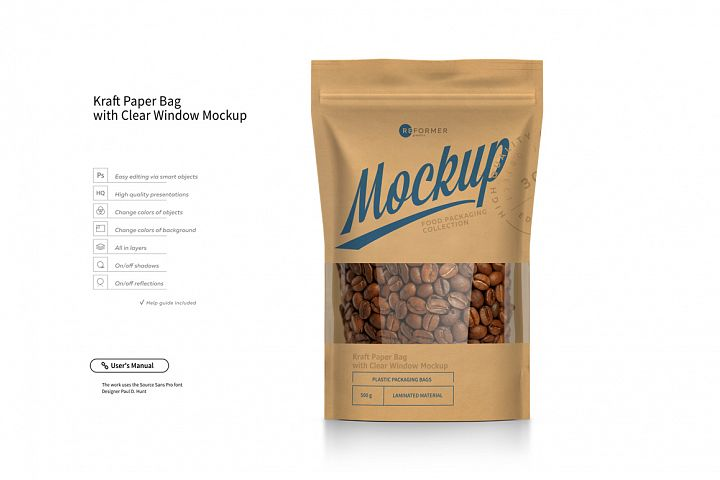 Kraft Paper Bag Stand up Pouch Doypack with Clear Window Mockup