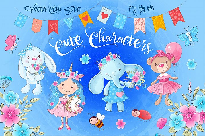 Cute Characters vector clip art