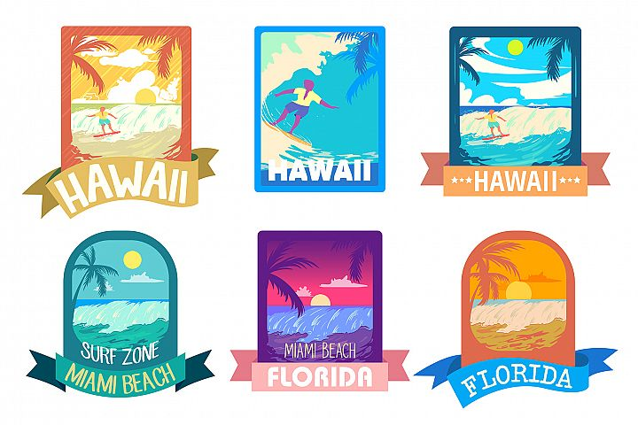 Surf time, summer holiday vector emblems