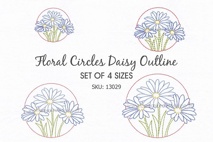 3 Daisy Flower Floral Circles Machine Embroidedery Design