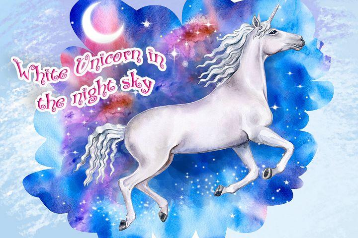 White Unicorn in the night sky. Watercolor