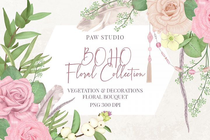 Boho Illustrations Floral Ddecorations Feather Flowers Leave