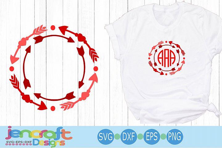 Valentine Heart SVG - Arrow Valentine monogram SVG Frames