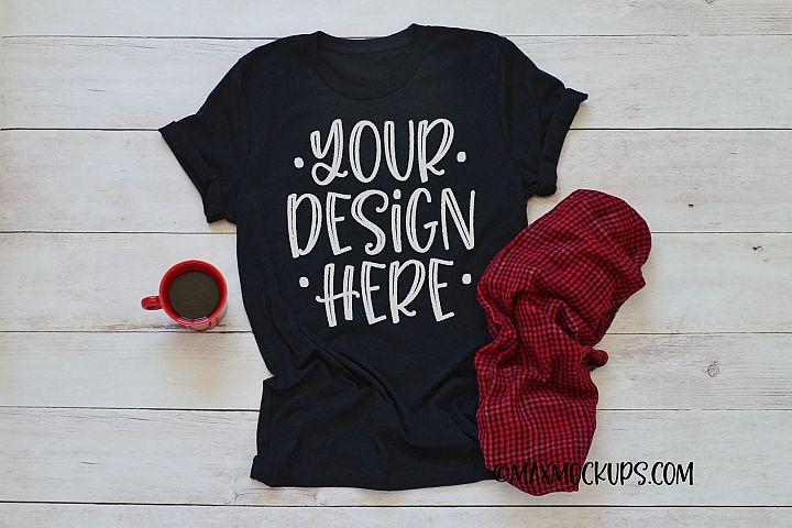 Black t-shirt mockup Bella Canvas 3001, coffee and plaid