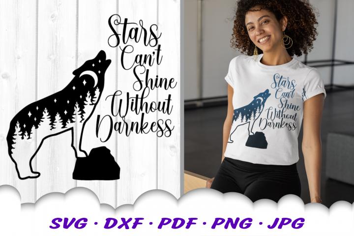 Stars Darkness Wolf SVG DXF Cut Files
