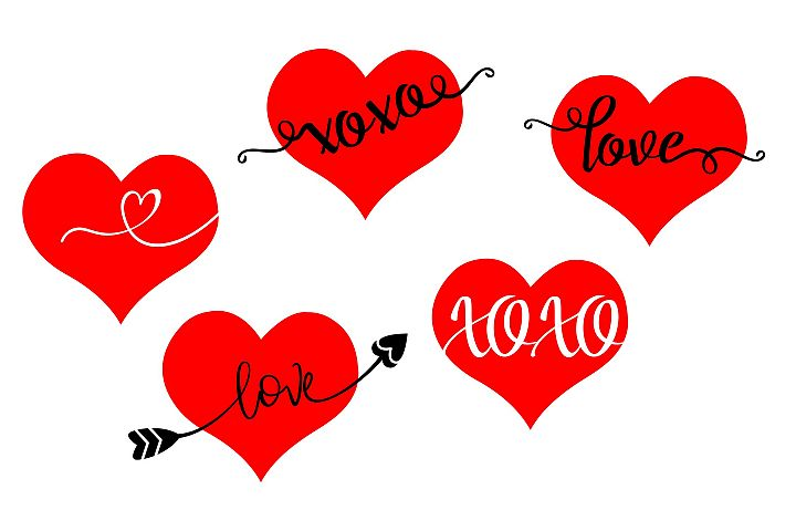 Valentine Hearts Bundle - Love XOXO - SVG PNG EPS example 2