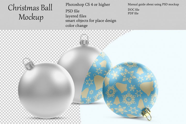 Christmas ball mockup. Product place. PSD object mockup.