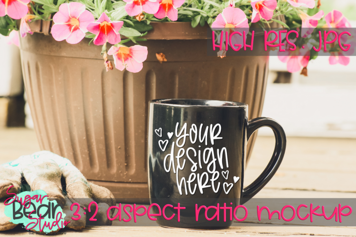 Black Mug with Pink Flowers and Gardening Gloves Mockup