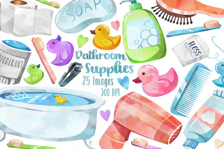 Watercolor Bathroom Supplies Clipart