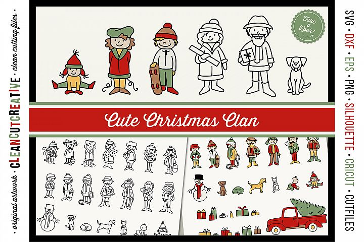Cute Christmas Clan - Christmas Family Characters cutfiles