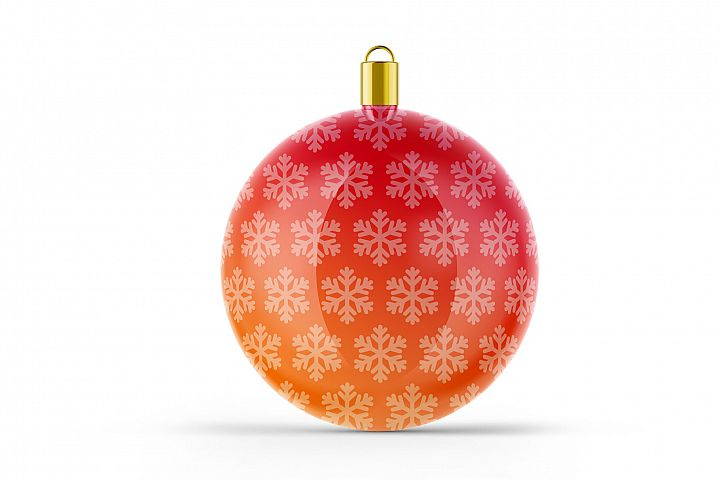 Glossy Christmas Ball Mockup