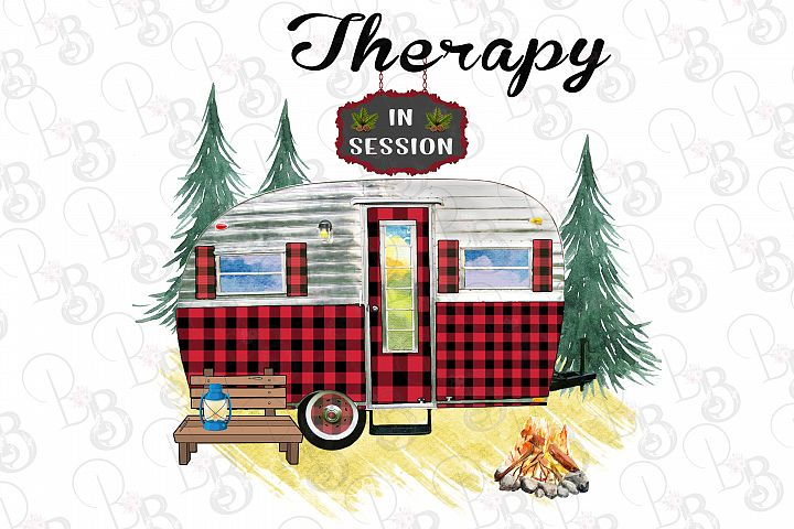 Therapy in Session Camping Vintage Trailer Retro RV Png