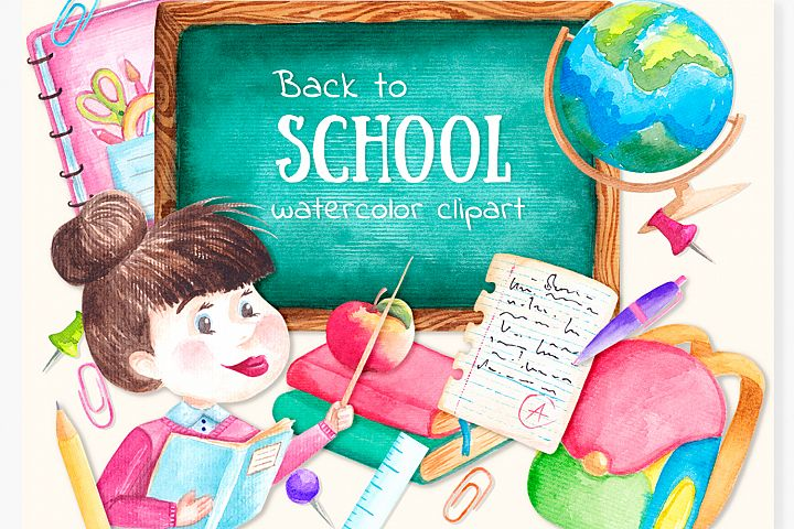 Watercolor School clipart Digital Teacher clip art
