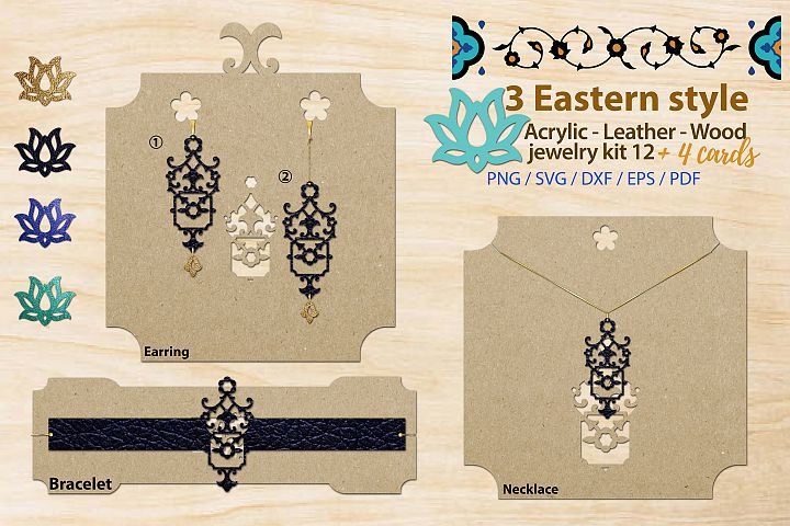 Eastern style acrylic leather wood jewelry kit 12 svg ai eps