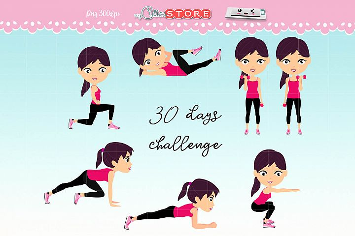 Fitness girl 30 days challenge clipart, cute girls workout set for planner stickers, scraps or digital planning.
