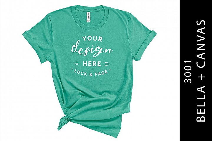 Womens Teal Bella Canvas 3001 Mockup On White Background