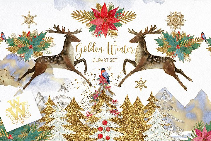 Golden winter christmas watercolor clipart with reindeer