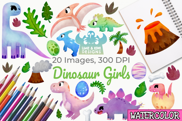 Dinosaur Girls Watercolor Clipart, Instant Download