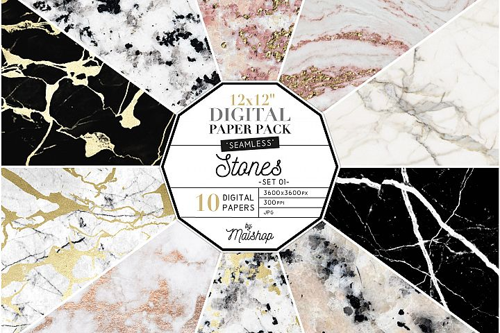 Seamless Digital Paper Stones Set o1