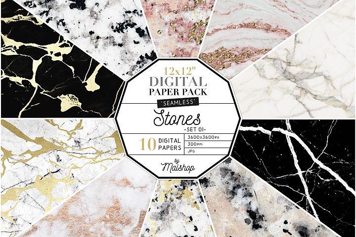 Seamless Digital Paper Pack Stones Set 01
