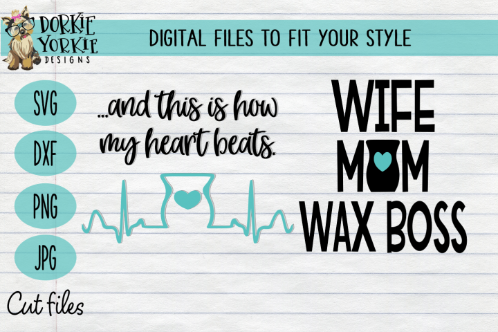 Wax Duo Bundle - wax, warmer, melt, wife, EKG - SVG cut file