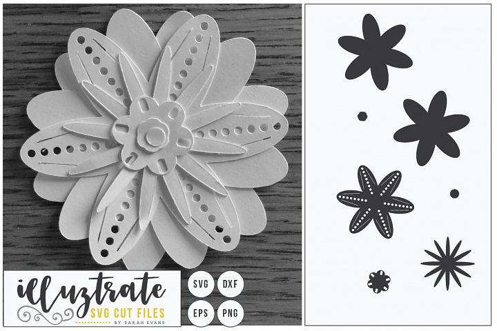 3D Flower SVG Cut Files - Flower SVG - Layered Flower DXF