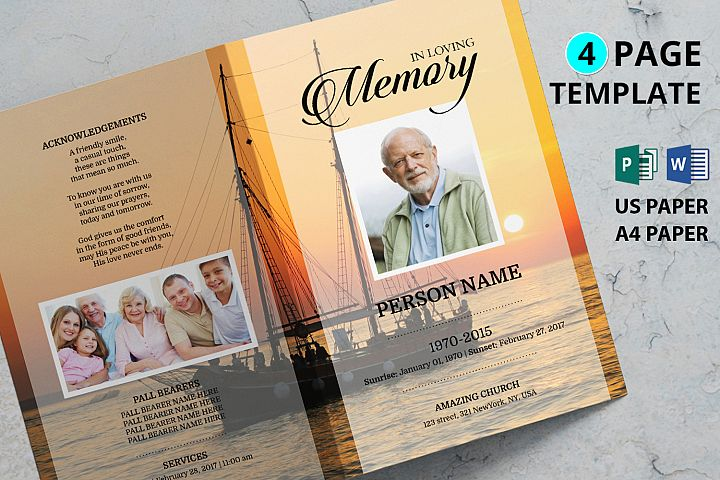 SAILOR Funeral Program Template , Ms word and publisher