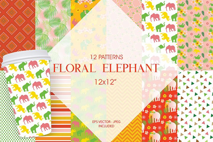 Floral Elephants Pattern collection, vector ai, eps and jpg
