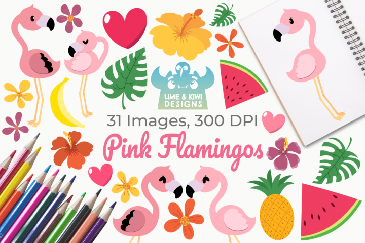 Pink Flamingos Clipart, Instant Download Vector Art