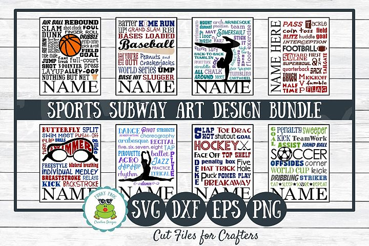 Sports Subway Art Design Bundle SVG Cut Files,PNG Printables
