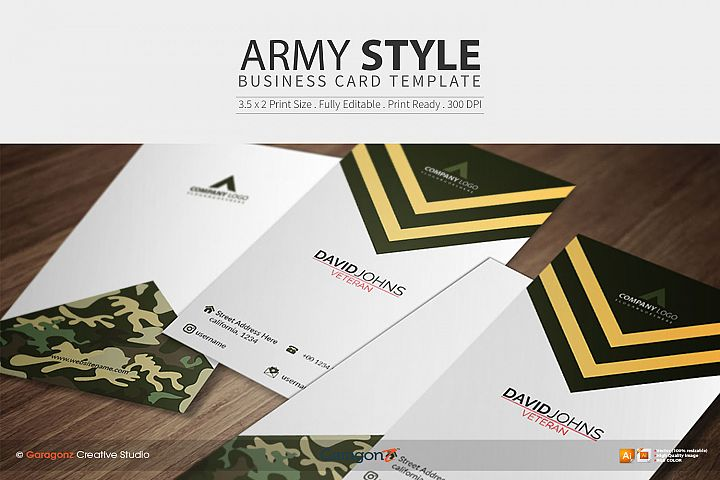 Army Style Business Card Template