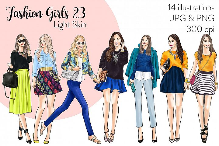 Fashion illustration clipart - Fashion Girls 23 - Light Skin