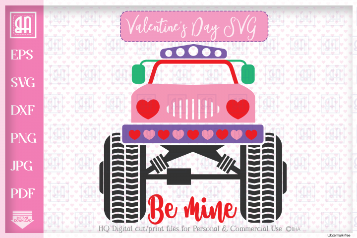 Valentines day MonsterTruck svg, Valentines truck svg