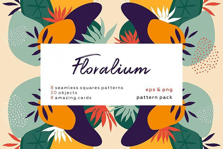 Floralium. Abstract botanical patterns set.